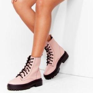 Nasty Gal- Blush Pink Chunky Lace Up Biker Boots